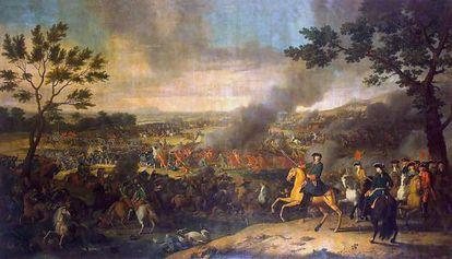 Panorámica de la batalla de Poltava según el pintor francés Louis Caravaque. En primer plano, espada en mano, el zar Pedro I.