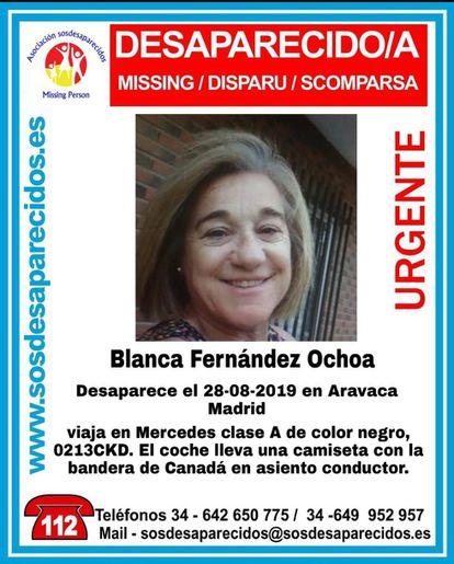 Imagen del cartel en el que se denuncia la desaparición de la esquiadora Blanca Fernández Ochoa.