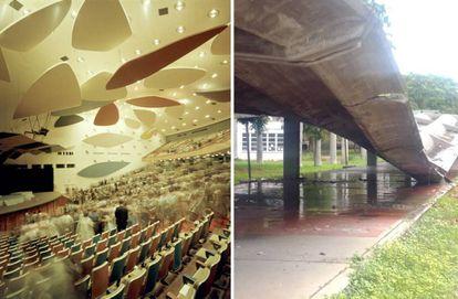 A la izquierda, el aula magna con los móviles de Alexander Calder, diseñados para mejorar la acústica de la sala. A la derecha, uno de los pasillos cubiertos de hormigón armado diseñados por Carlos Raúl Villanueva, en una foto tomada la semana pasada.  