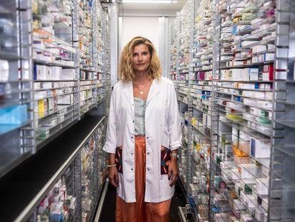 María Esteban Jiménez en la Farmacia Lavapiés, este jueves.