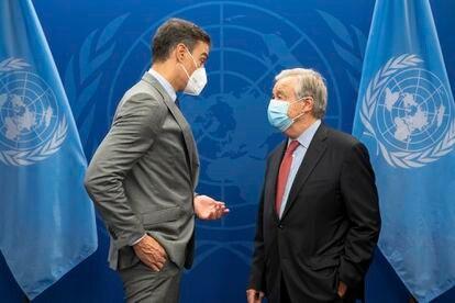 Pedro Sánchez y António Guterres, el miércoles en la ONU.