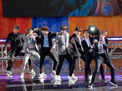 La actuación del grupo de K-pop BTS en el programa 'Good Morning America', en Nueva York en mayo de 2019.