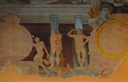 Detalle de la obra inacabada de Mengs que puede verse estos días de forma excepcional en el Palacio de Aranjuez.