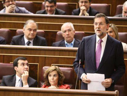 El líder del PP, Mariano Rajoy, en el Congreso de los Diputados