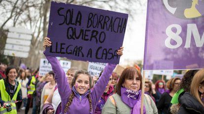 Manifestación feminista 8 de marzo de 2020 en Madrid.