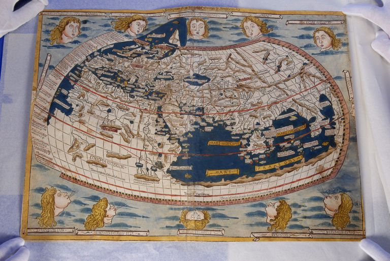 One of two world maps from Ptolemy's 'Cosmology', from 1482, which was stolen from the BNE and recovered in Australia.