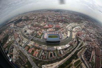 Vista aérea del estadio Vicente Calderón.