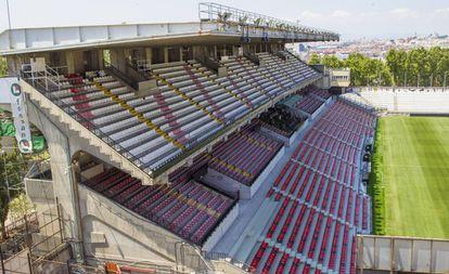 Imagen de una grada del Estadio de Vallecas el 18 de agosto.