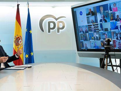 El presidente de los populares, Pablo Casado, durante la videoconferencia que mantuvo el miércoles con líderes del PP europeo.