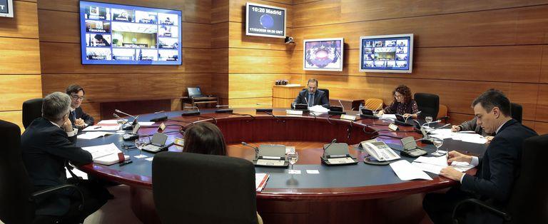 El presidente Pedro Sánchez en la reunión del Consejo de Ministros.