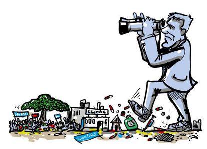 Dibujos-caricaturas sobre financiación en material de salud de MSF al hilo de la cumbre de Addis Abeba.