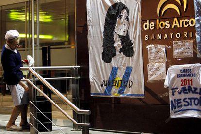 Entrada de la clínica Los Arcos de Buenos Aires, en la que fue intervenido el ex presidente Néstor Kirchner.
