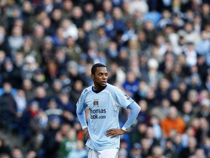 Robinho, durante un partido con el City en 2009.