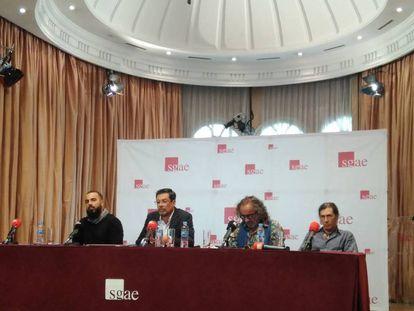 De derecha a izquierda, los músicos Jorge Pardo, Teo Cardalda, José Ángel Hevia e Iván Sevillano (Hueco), este viernes en la sede de la SGAE.