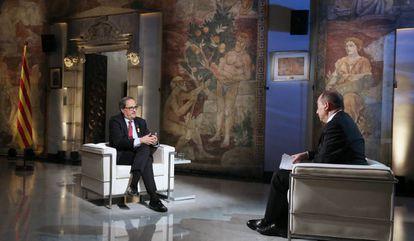 El presidente de la Generalitat, Quim Torra, durante la entrevista.