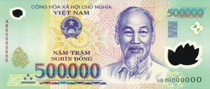 Billete de 500.000 dong de Vietnam.