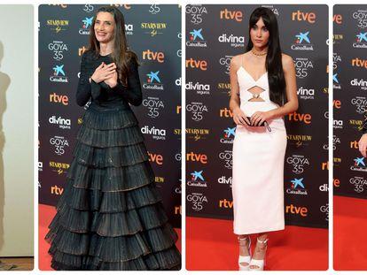 Desde la izquierda, Milena Smit, Ángela Molina, Aitana y Paz Vega en la gala de los Premios Goya 2021
