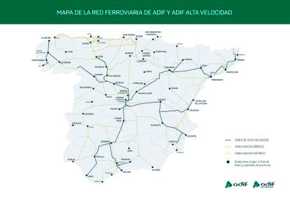 Mapa de la red ferroviaria española operada por Adif.