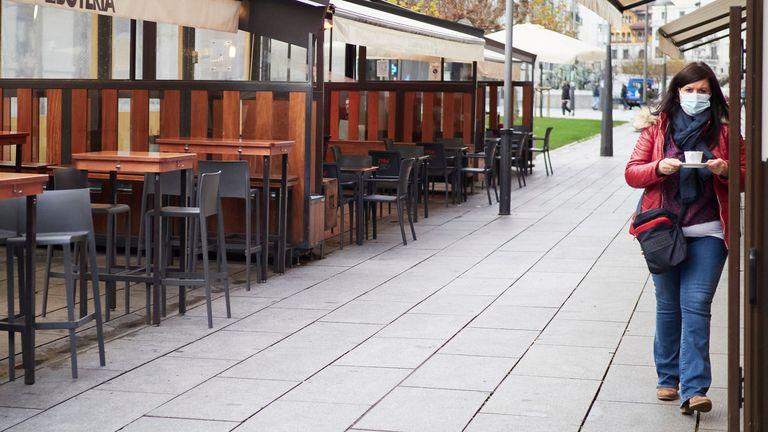 Terrazas en un bar de Pamplona, Navarra (España), el pasado 17 de diciembre.
