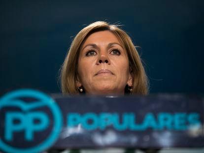 María Dolores de Cospedal, durante la comparecencia en la sede del partido en la calle Génova de Madrid, en 2018.