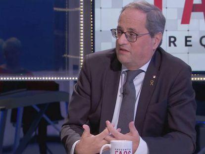Quim Torra, entrevistado en el programa 'Preguntes freqüents', de TV3.