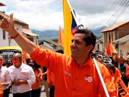 Xavier Hervas, candidato a la presidencia de Ecuador, durante la campaña.