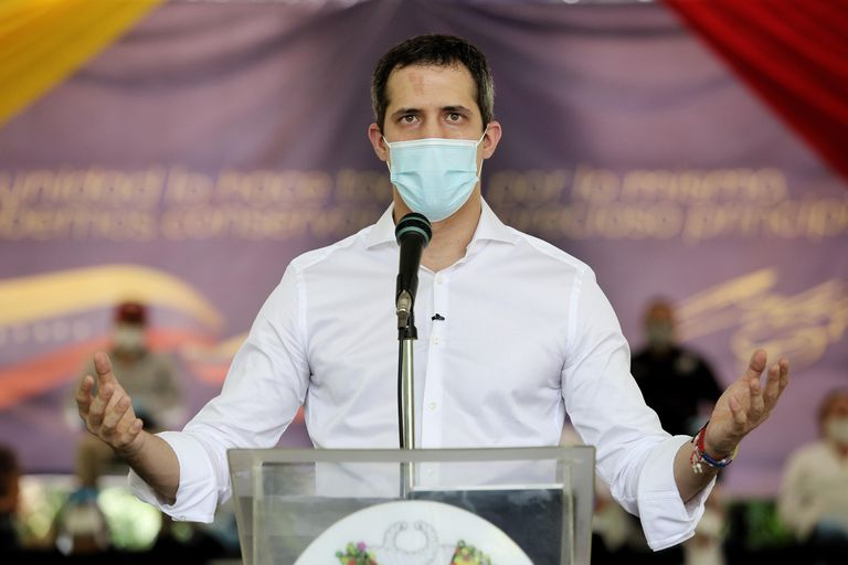 El líder opositor venezolano Juan Guaidó, durante una comparecencia.