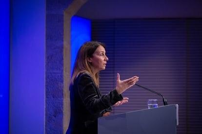 La 'consellera' de Presidencia en funciones, Meritxell Budó, durante la rueda de prensa semanal del Ejecutivo catalán