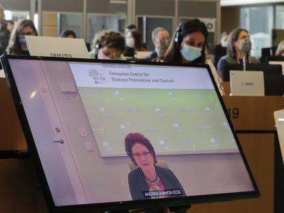 La directora del ECDC, Andrea Ammon, responde a las preguntas de los eurodiputados a través de la pantalla.