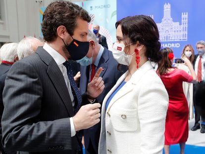El presidente del PP, Pablo Casado, y la presidenta de Madrid, Isabel Díaz Ayuso, este sábado.