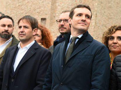 Santiago Abascal y Pablo Casado en la concentración convocada en la plaza de Colón de Madrid en 2019.
