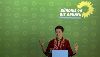 La líder de Los Verdes, Ska Keller, durante una rueda de prensa en Berlín, este lunes.
