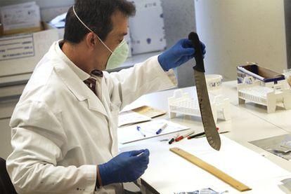 El comisario Antonio del Amo en su laboratorio de análisis genético en Canillas (Madrid).