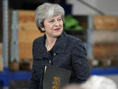 La primera ministra de Reino Unido, Theresa May, este viernes en Grimsby.