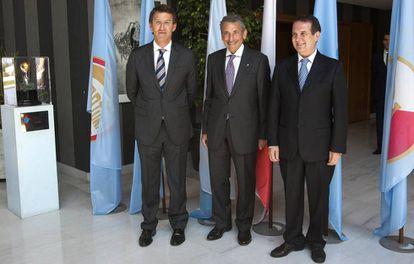 Feijóo, Mouriño y Caballero, en el 90º aniversario del Celta en 2013.