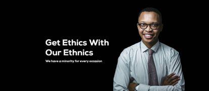 Esta imagen es una de las que presiden la web de Rent-A-Minority.