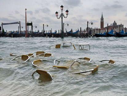 Venecia, durante una subida del nivel del agua de la laguna el 11 de noviembre de 2011.
