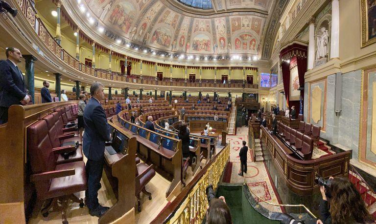 Minuto de silencio en recuerdo a las víctimas de la covid-19 en el pleno del Congreso.