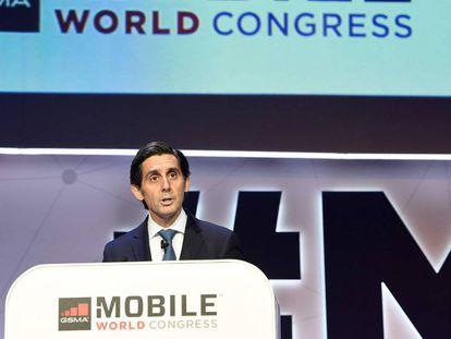 José María Álvarez-Pallete, en la conferencia inaugural del Mobile World Congress de Barcelona.