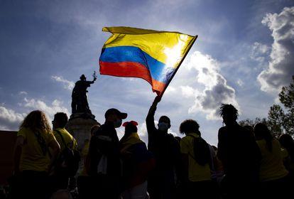 Protestas de la comunidad colombiana el pasado sábado en París.