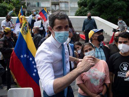 El líder opositor venezolano Juan Guaidó, este miércoles en una concentración en Caracas.