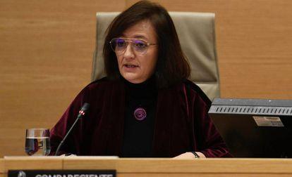 La presidenta de la AIReF, Cristina Herrero, durante una comparecencia en el Congreso de los Diputados.