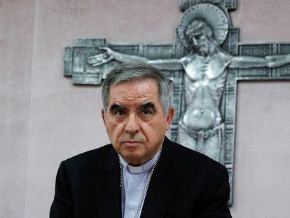 El cardenal Angelo Becciu, imputado en el proceso de la Santa Sede, el 14 de octubre de 2020.