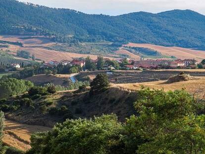 Vista de Ucar, en Valdizarbe (Navarra), con las montañas de las Nekeas de fondo.