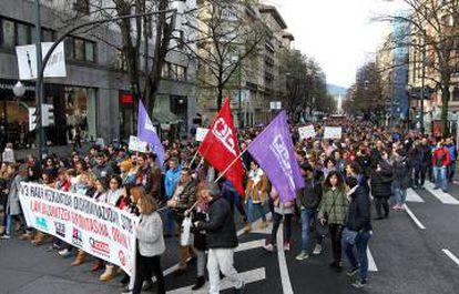 Manifestación en Bilbao durante la huelga de los profesores de la red de enseñanza concertada.