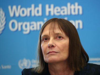La investigadora Marie-Paule Kieny, en una conferencia sobre el coronavirus organizada en febrero en la sede de la OMS en Ginebra (Suiza).