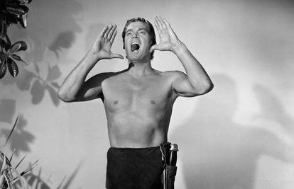 El actor Johnny Weissmuller en la piel de Tarzán, en un fotograma de 1940.