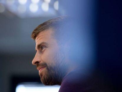 Gerard Piqué, durante una comparecencia ante los medios de comunicacion en Barcelona.