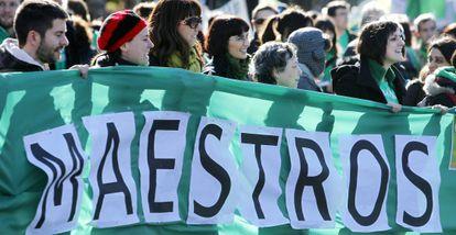 Manifestación de profesores en diciembre.