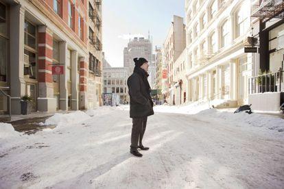 Ferran Adrià, en una calle nevada de Nueva York.
